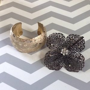 Vintage gold toned cuff & hair broach